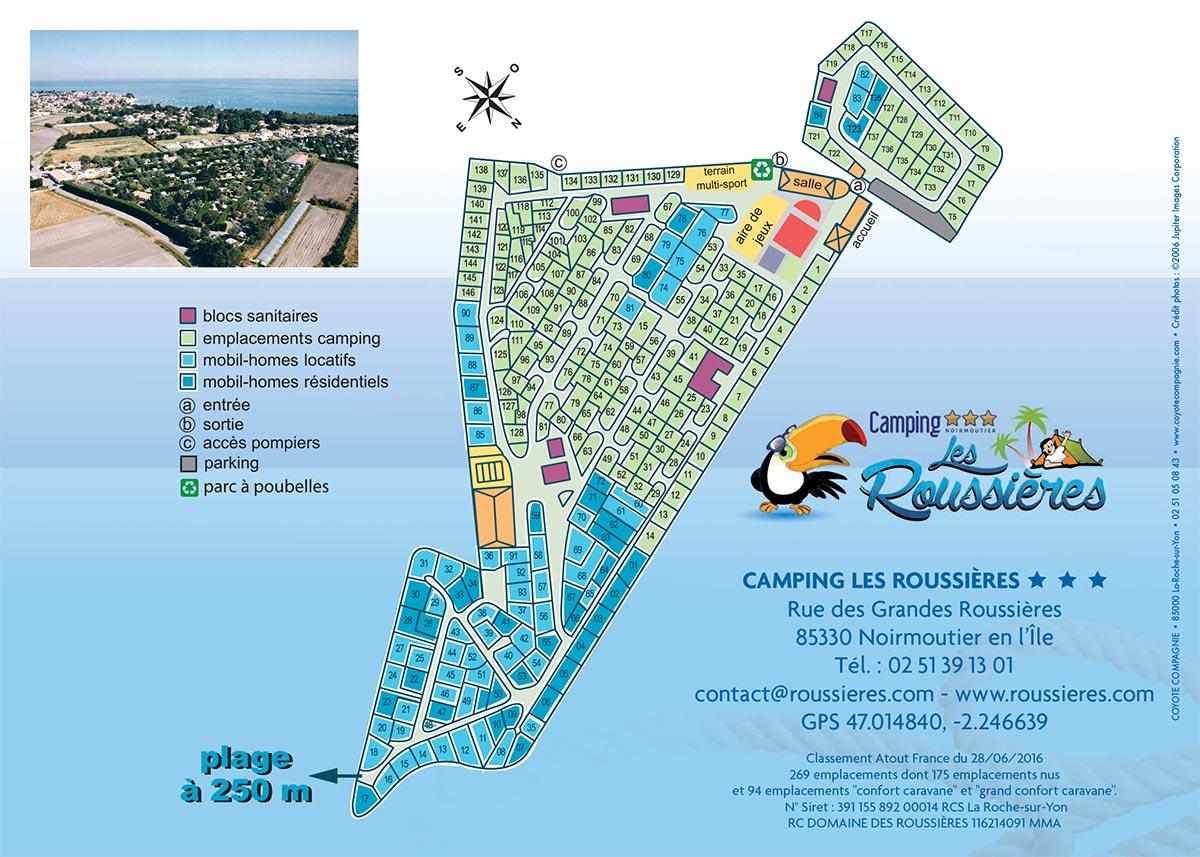 plan du camping des Roussières